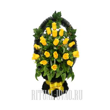 Ярко-желтая ритуальная искусственная корзина