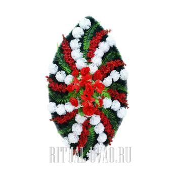 Классический вариант венка белые и красные гвоздики