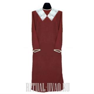 Платье похоронное ситец воротник белый