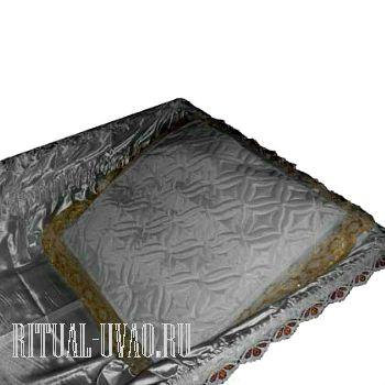Подушка в гроб Шелковая Спандекс с золотой оборкой
