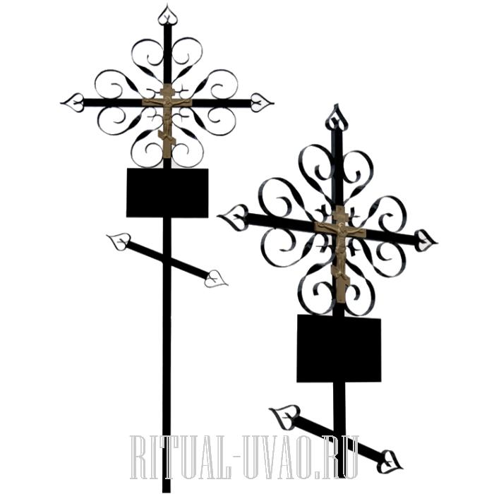Замена двух крестов в ограде на металлические