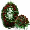 Венок и корзина - Бордовые Розы в комплекте