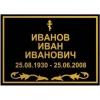 Табличка на крест черная золотыми буквами