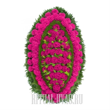 """Венок из искусственных цветов """"Розовый лоск"""""""