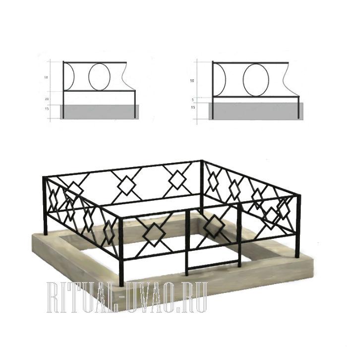 Монтаж ограды на кладбище