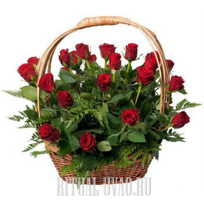 Корзина из живых цветов купить