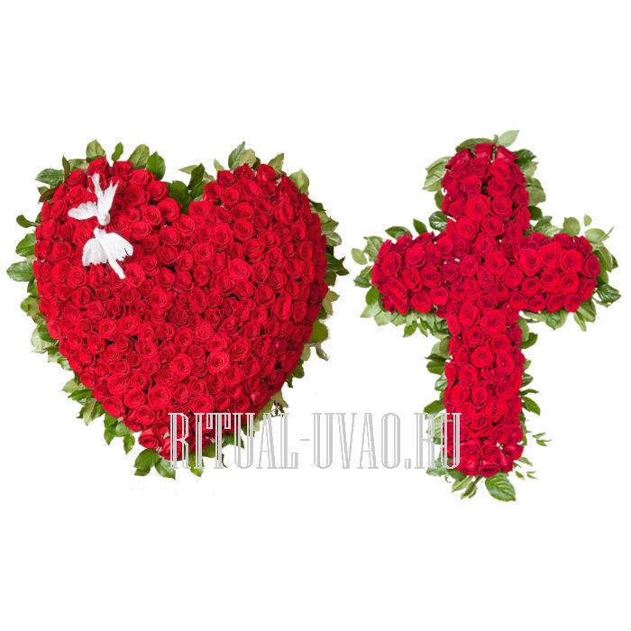 Крест, сердце, колесо из живых цветов. Комплекты.