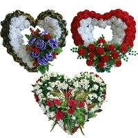 Траурные венки в форме сердца