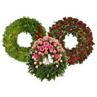 Круглые заказные венки из живых цветов