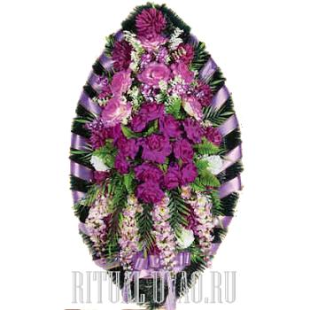 Красочный сиренево-фиолетовый траурный венок