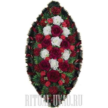 Глубокий бордово-красный похоронный венок