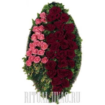 """Венок """"Бархатные бордовые и розовые розы"""""""
