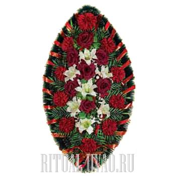 Венок - алые Розы, Гвоздики и белые Лилии