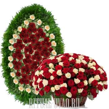 Венок с корзиной из чудесных свежих Роз 300 шт.