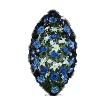 Венок голубой из гвоздик, лилий, хризантем