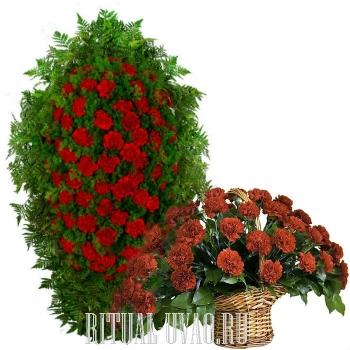 Из 170 красных Гвоздик венок и корзинка