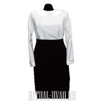 Блуза, юбка, вышитый воротник. Комплект.
