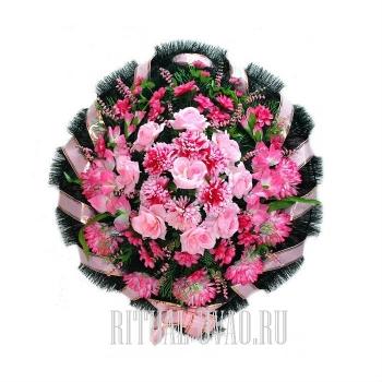 """Венок на похороны """"Круг"""" цвет розовый"""