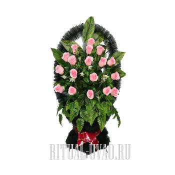 """""""Розовые Розы"""" ритуальные корзины на похороны"""