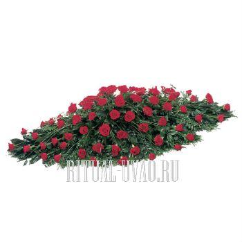 Композиция на гроб из Роз и зелени