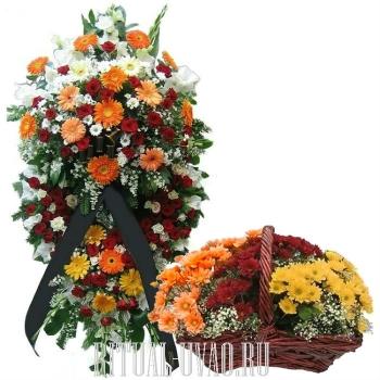 Венок и корзина из Гербер на похороны
