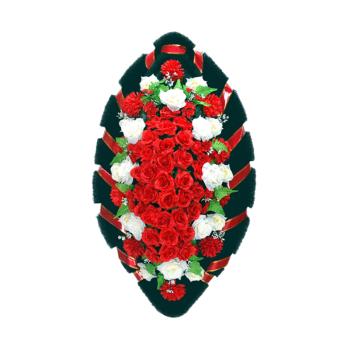 Похоронный венок в красных тонах