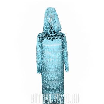 Платье голубое, кружевное на похороны