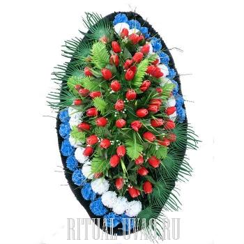 Трехцветный траурный венок - тюльпаны, гвоздики