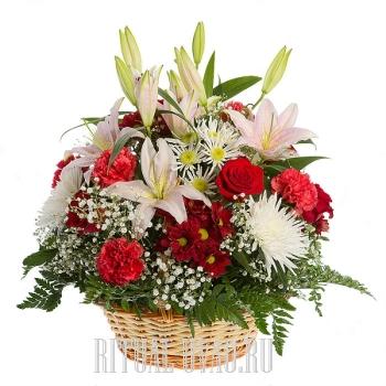 Корзина на похороны с Лилиями недорого