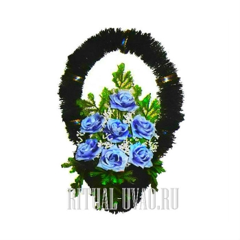 """Корзина ритуальная на похороны """"Голубые розы"""""""