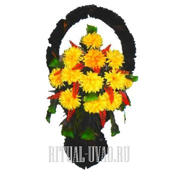 """Ритуальная корзина искусственная """"Желтые хризантемы"""""""