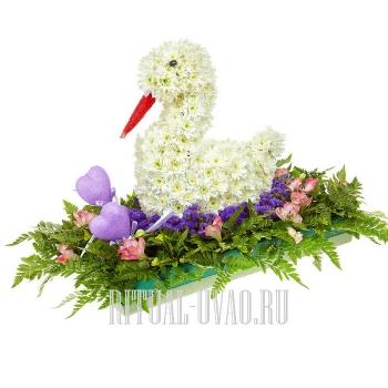"""Композиция детская из живых цветов """"Птичка"""""""