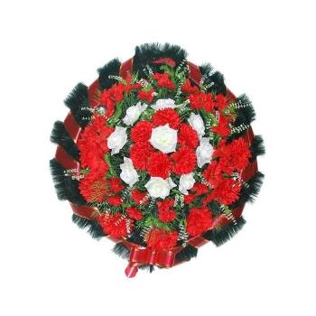 """Венок на похороны """"Круг"""" красный с белым"""