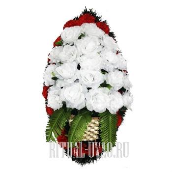 Траурный венок ваза из Роз В01-10