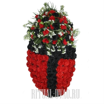 Красно-черный траурный венок из гвоздик