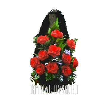 """""""Красные розы"""" траурная корзина на крест"""