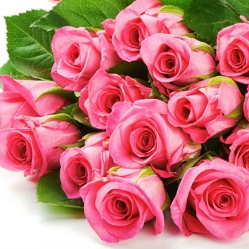Плетеная корзина из живых розовых Роз
