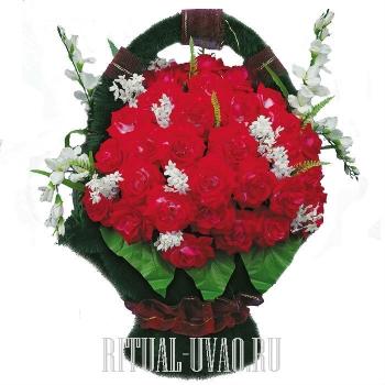 """Элитная корзина на могилу """"Красные розочки"""""""