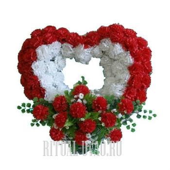 """Венок искусственный """"Сердце"""" - Красно-белый"""