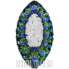Лазурно-синий венок с белыми Розами по центру
