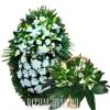 Белоснежные Лилии, Хризантемы, Розы, венок и корзина