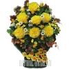 Пышная траурная корзина с желтыми Хризантемами
