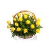 Невысокая траурная корзина с желтыми Розами