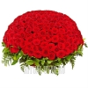 Большая корзина с красными Розами на могилу