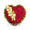 Сердце из Роз с Орхидеей