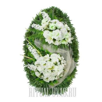 """Искусственный венок """"Белый ветер"""" для похорон"""